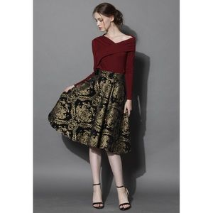 Chicwish Golden Bouquet Jacquard Midi Skirt